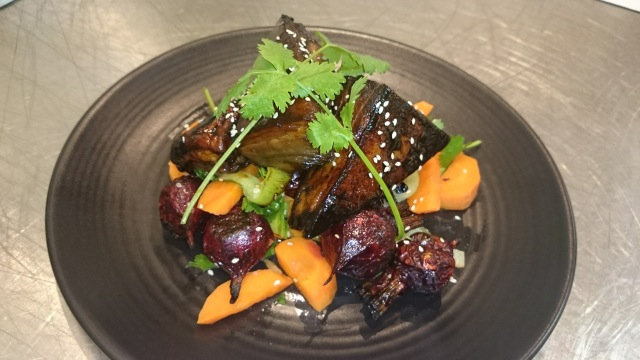 Pork belly with roasted beetroot